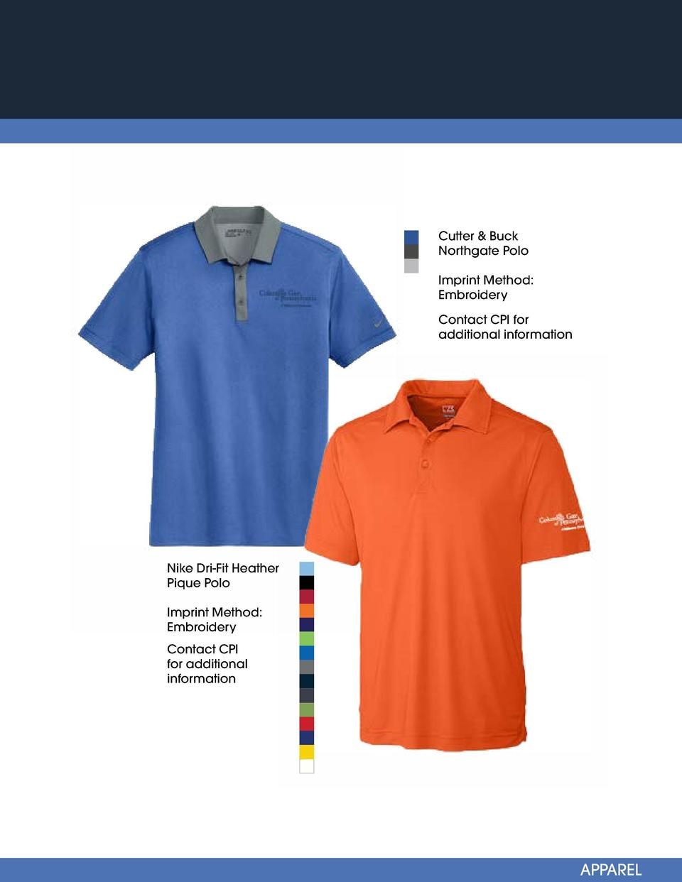 Cutter   Buck Northgate Polo Imprint Method  Embroidery  Sport-Tek Long Sleeve Heather Color-block Contender Tee  Contact ...